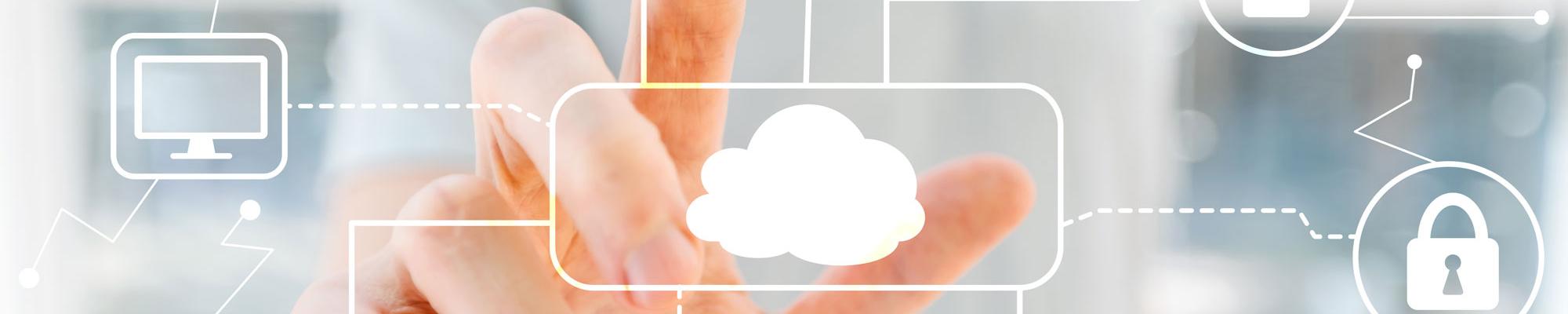Headerbild Finger tippt auf Cloud-Computing