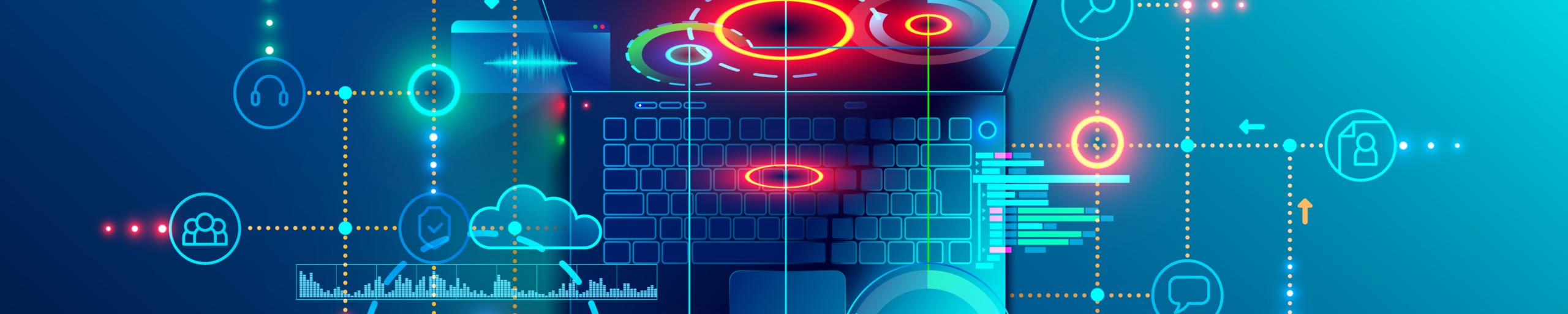 Headerbild Digital Laptop Bunt