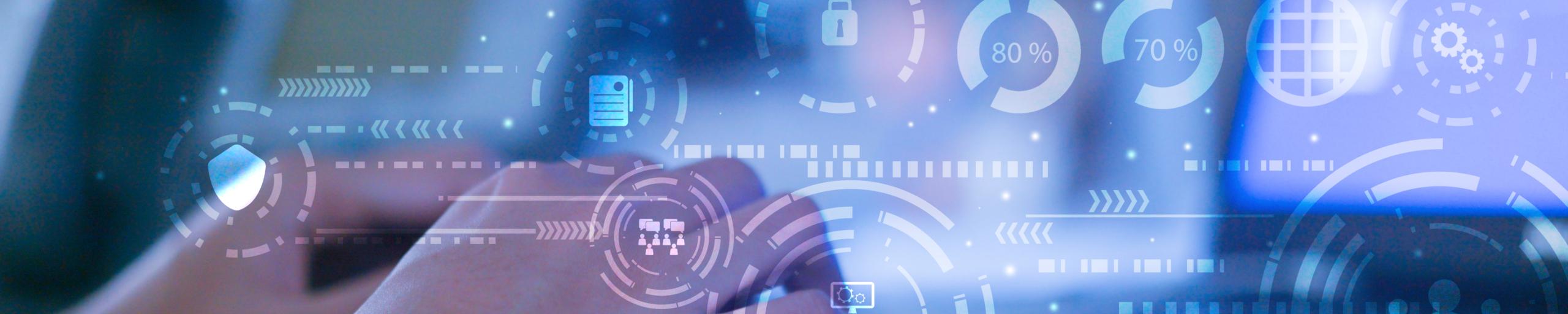 Headerbild Finger auf Tastatur mit Digitalen Symbolen