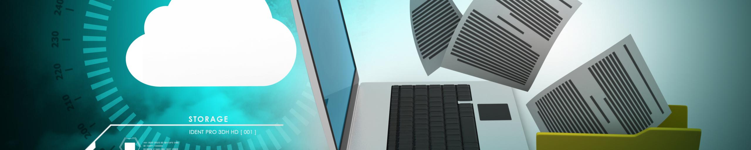 Headerbild Laptop mit Dateien und Cloud Storage