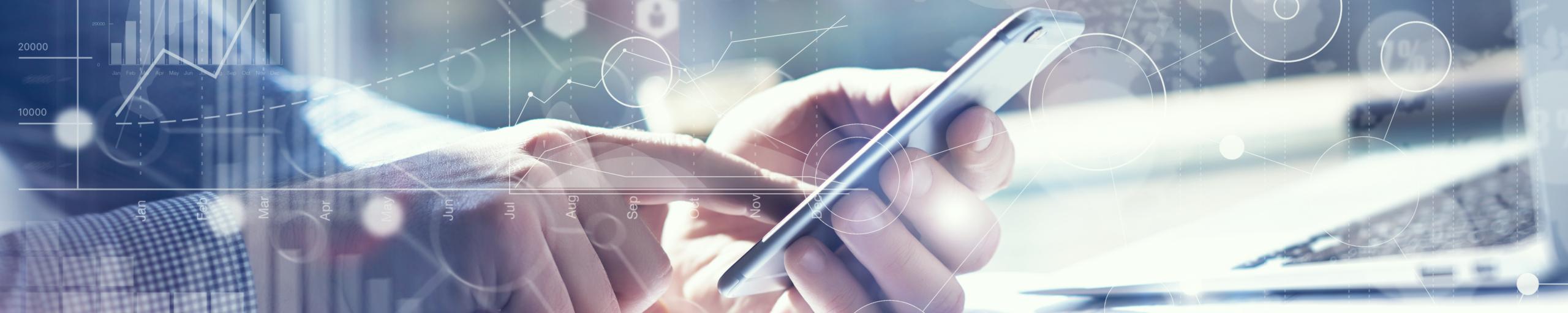 Headerbild Finger auf Smartphone mit Digitalen Symbolen